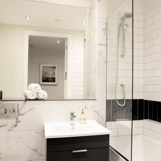 modern luxury bathroom in furnished apartment
